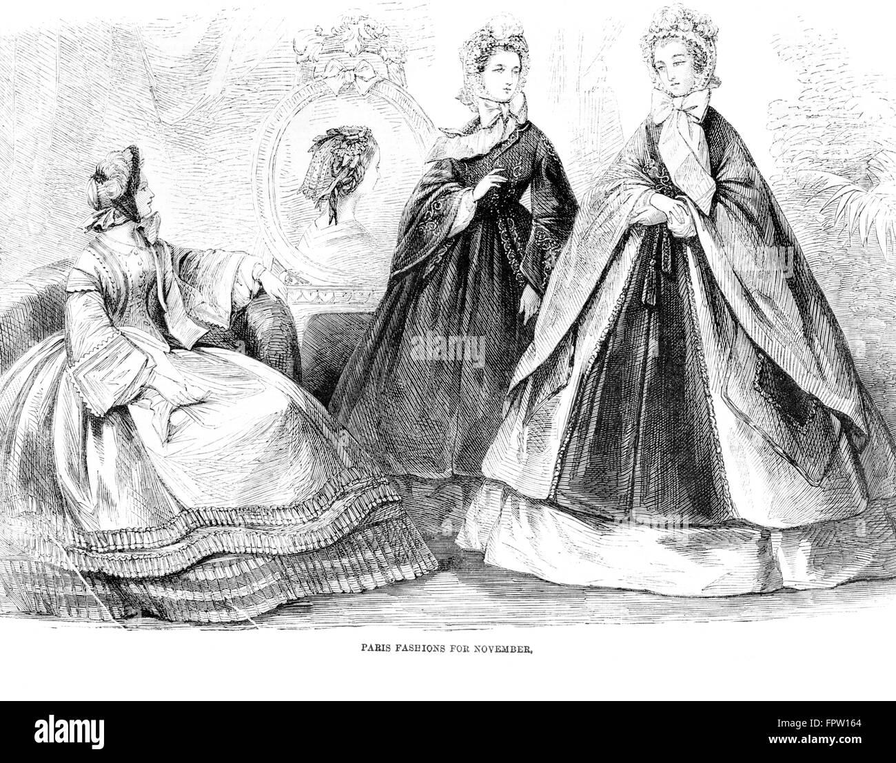 1860er Jahre Mode Der Tag Abbildung 1861 3 Frauen Modelle Lange Kleider Reifrock Reifrock Cape Hut Antebellum Stil Kleidung Stockfotografie Alamy