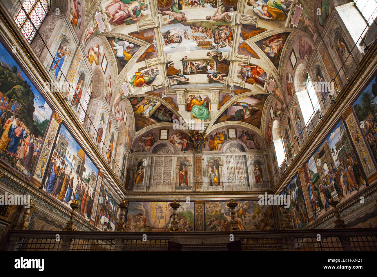 Vatikanstadt, Rom - 2. März 2016: Innen- und architektonische Details der Sixtinischen Kapelle, 2. März Stockbild