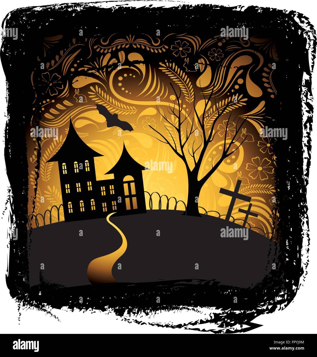Halloween-Hintergrund mit Kürbis, Nacht Bat, Baum und Haus im Rahmen ...