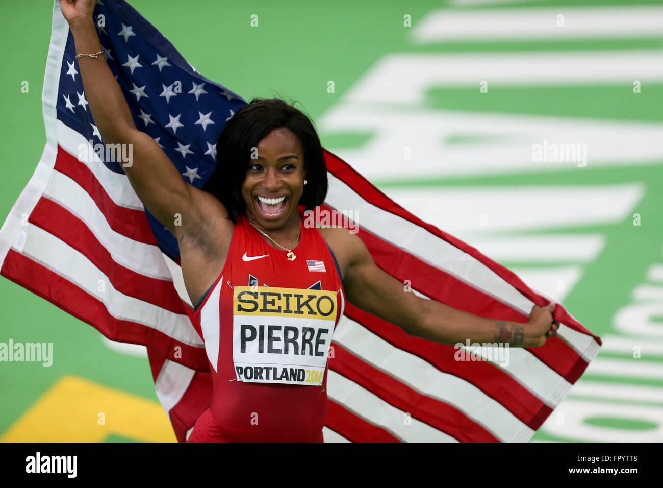 19. März 2016 - feiert BARBARA PIERRE gewann die 60 m-Finale bei der 2016 Indoor & Leichtathletik Weltmeisterschaften Stockbild