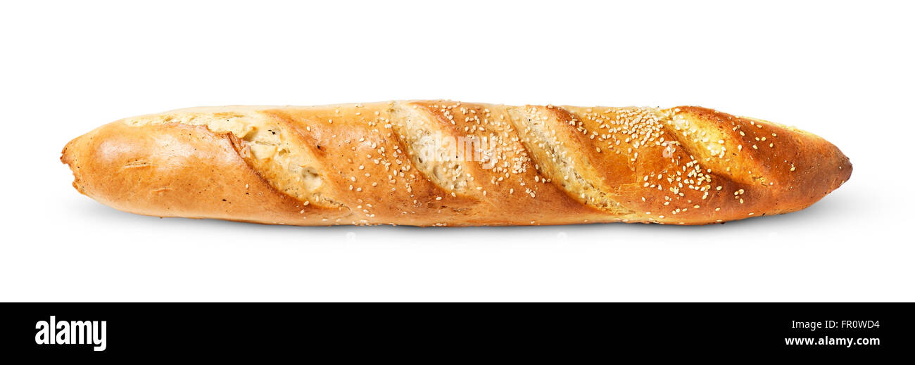 Französische Baguette horizontal isoliert auf weißem Hintergrund Stockbild