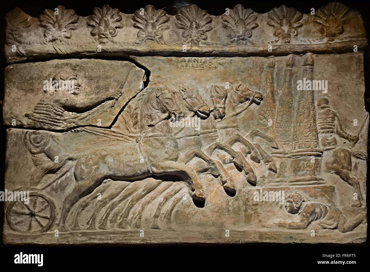 Roman Quadriges Rennen in Rom einer Zirkus-12:00 (Chariot Rennen antiken griechischen und römischen Breitensport) Stockbild