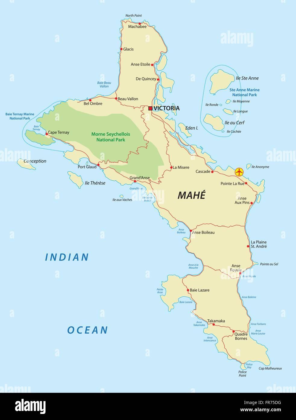 Karte Seychellen.Seychellen Mahe Karte Vektor Abbildung Bild 100346892