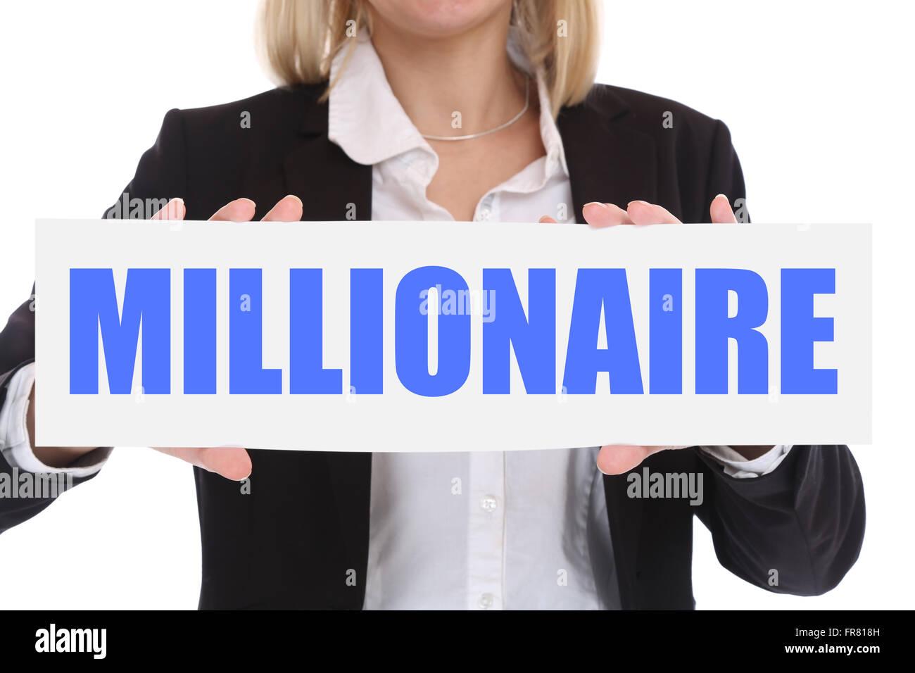 Business Konzept Millionär Reich Reichtum Geschäftsfrau Erfolg erfolgreich finanziert Führung Stockbild