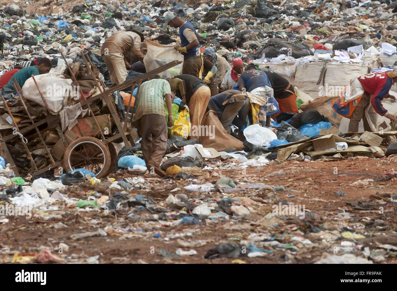Plünderer auf der Müllkippe der strukturellen Stadt Brasilia Stockbild