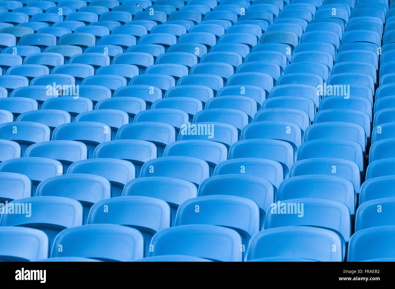 Detail Des Blauen Stuhlen In Der Fussball Stadion Tribune
