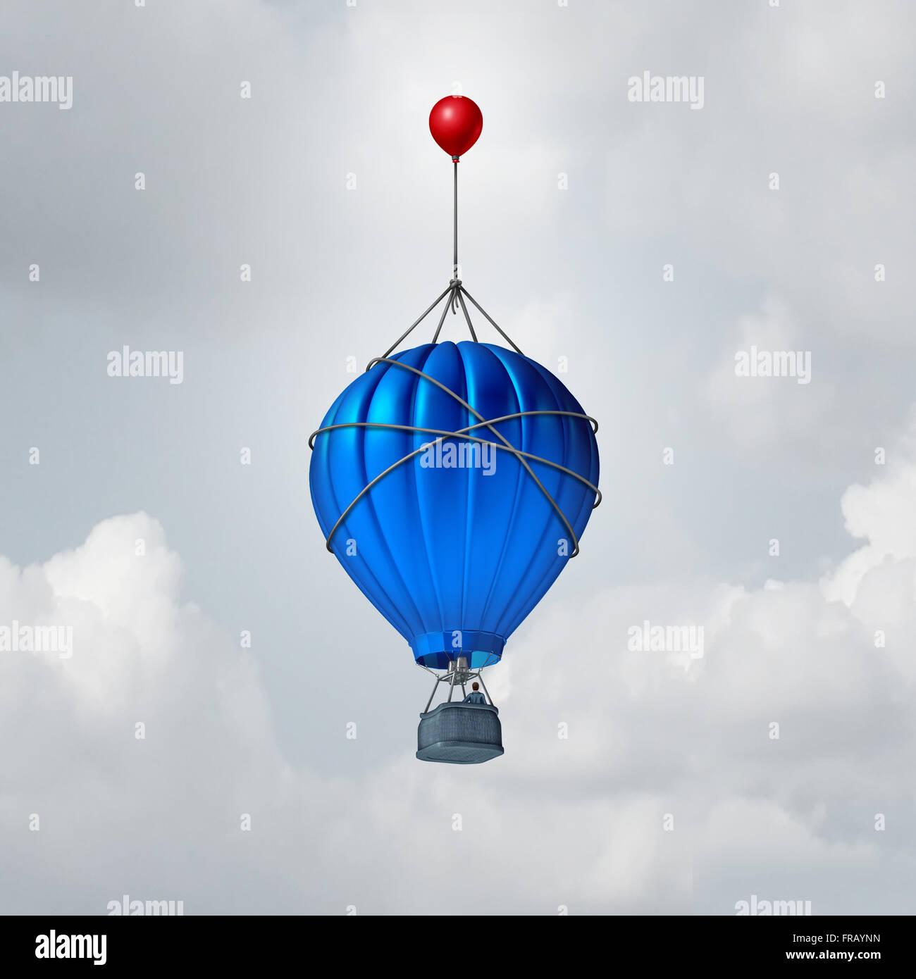 Zusätzliche Hilfe-Business-Konzept oder eine Metapher für darüber hinaus Symbol als ein Heißluftballon Stockbild