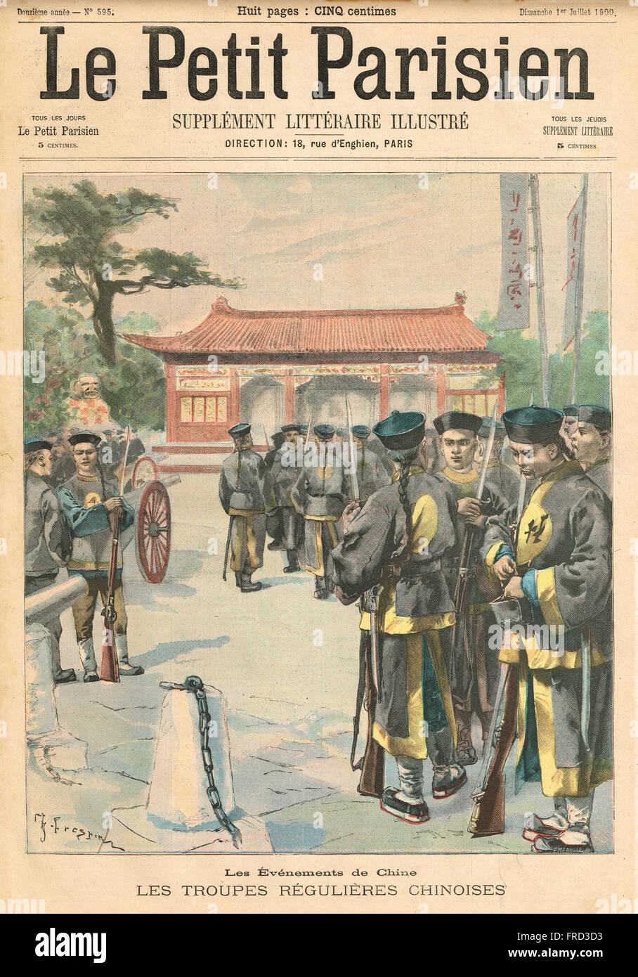 Veranstaltungen in China der regulären Armee 1900 Stockbild