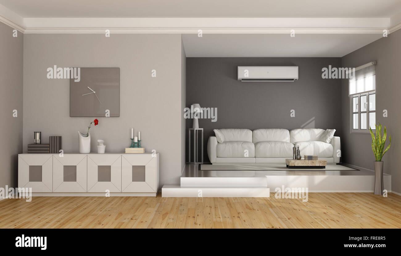Zwei Ebenen Modernes Wohnzimmer Mit Sofa, Sideboard Und Klimaanlage 3D  Rendering