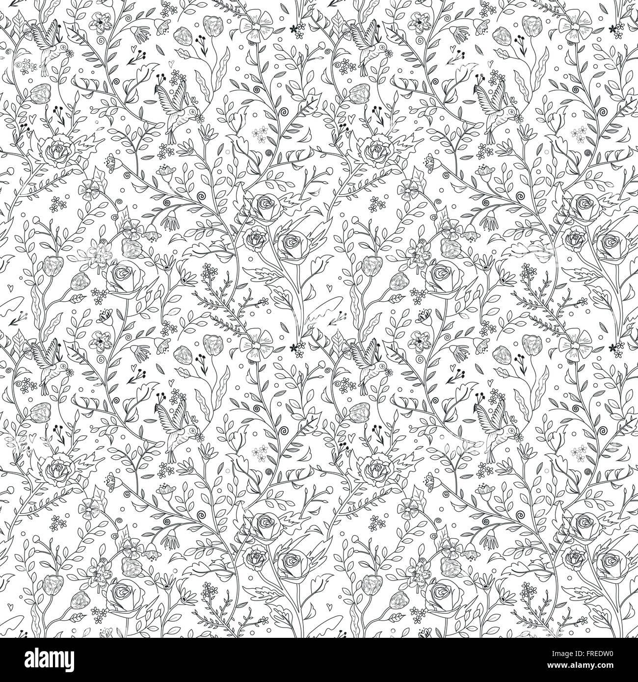 anmutige nahtlose floralen Muster Malvorlagen in exquisitem Stil ...
