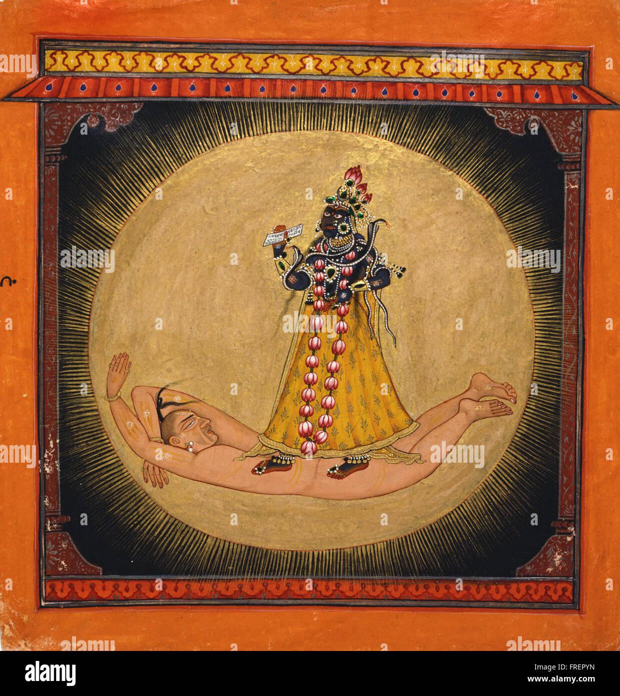 Hersteller unbekannt, Indien Bhadrakali innerhalb der aufgehenden Sonne Stockbild