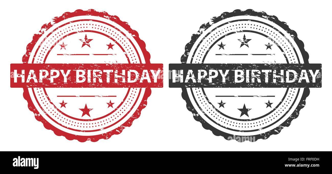 happy birthday grunge stempel rot und isoliert schwarz auf. Black Bedroom Furniture Sets. Home Design Ideas