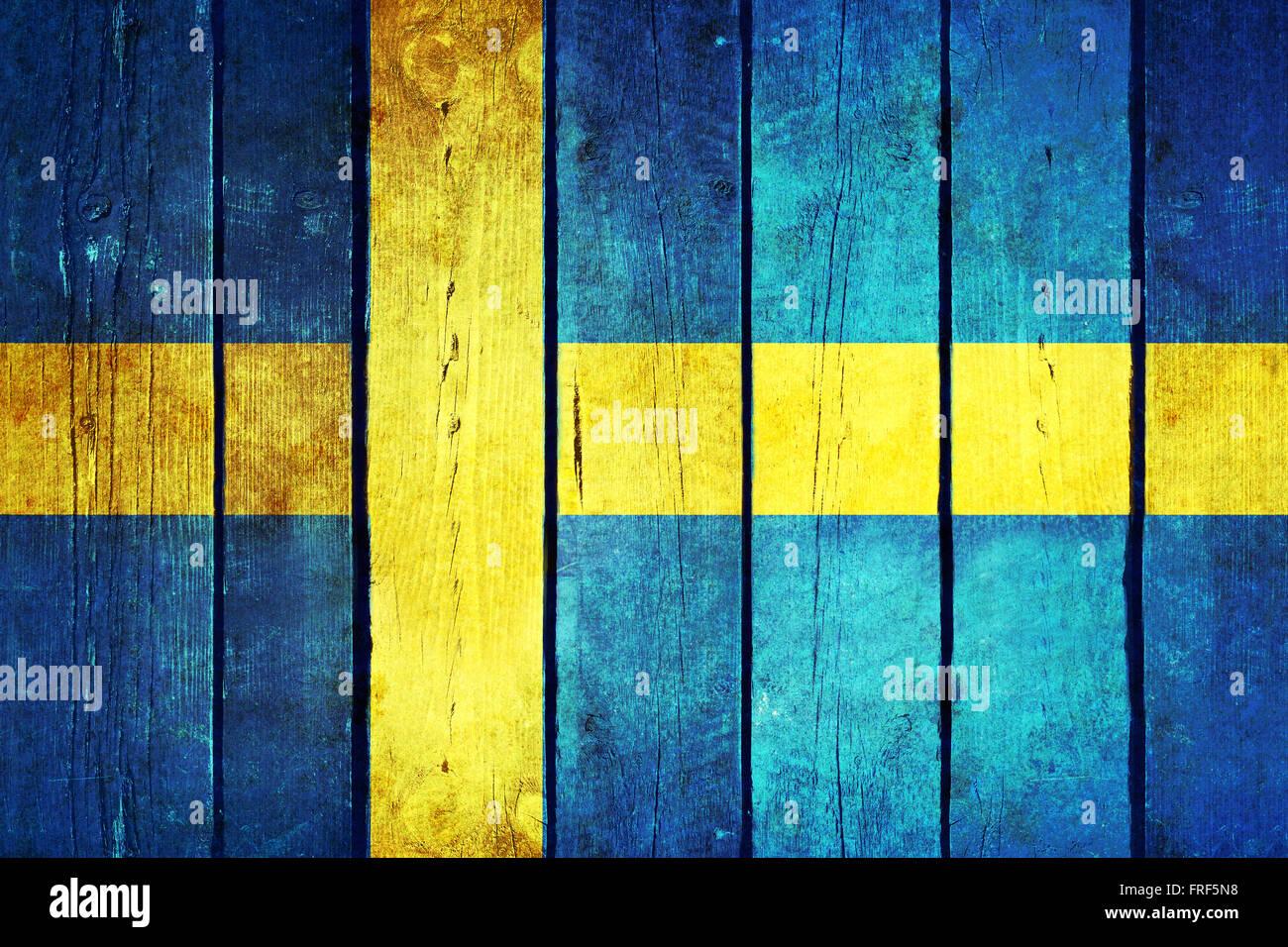 schweden h lzerne grunge flagge schweden flagge auf die alten holzbohlen gemalt vintage retro. Black Bedroom Furniture Sets. Home Design Ideas
