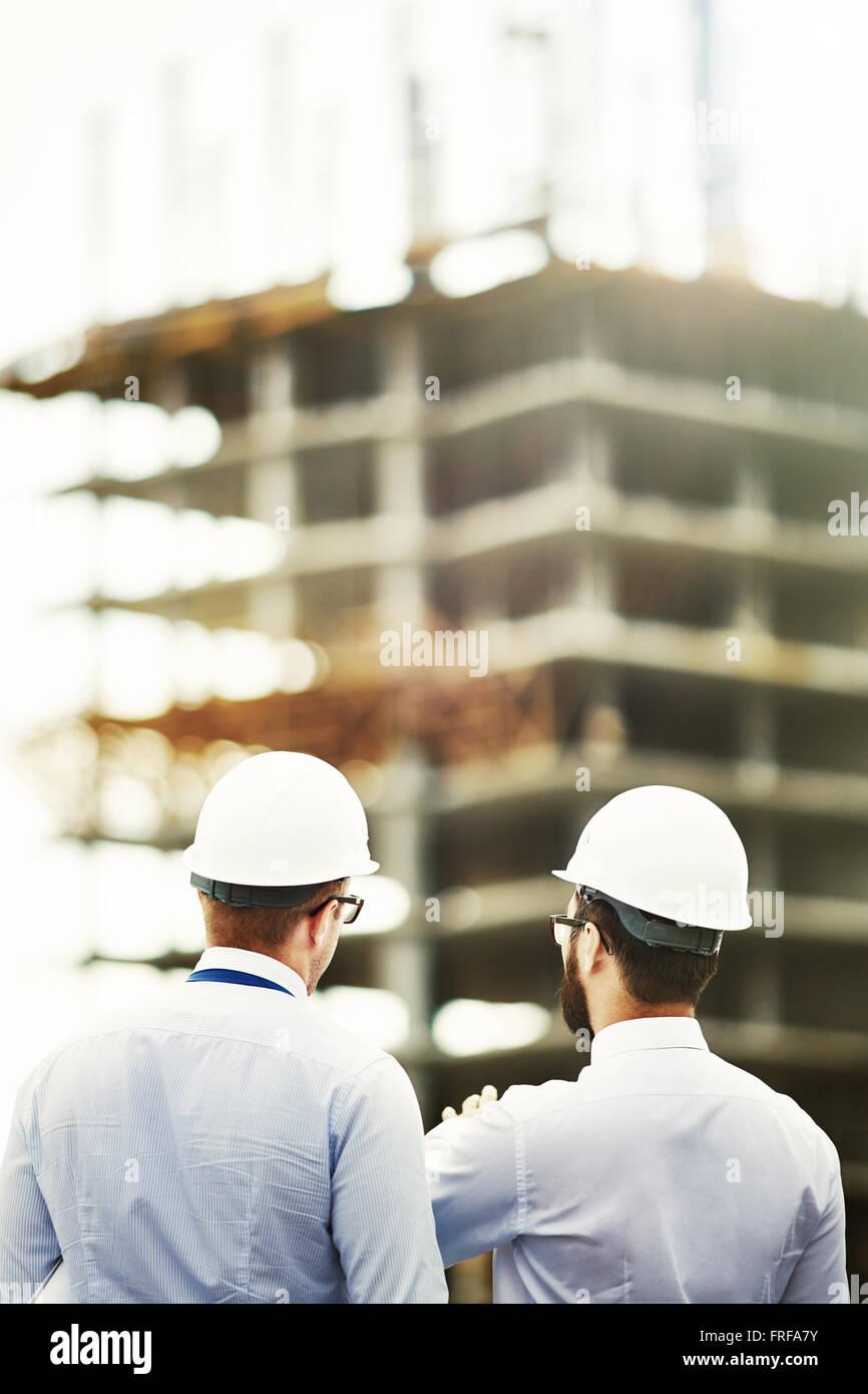 Rückseiten der Architekten Stockbild