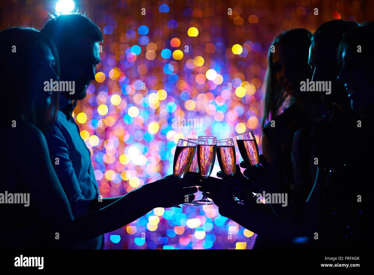 Toasten auf party Stockbild