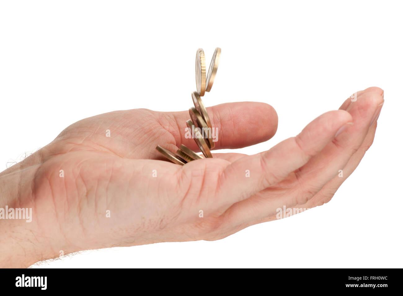Seite Detail Ansicht In Eine Männliche Hand Der Fallende Euro Münzen