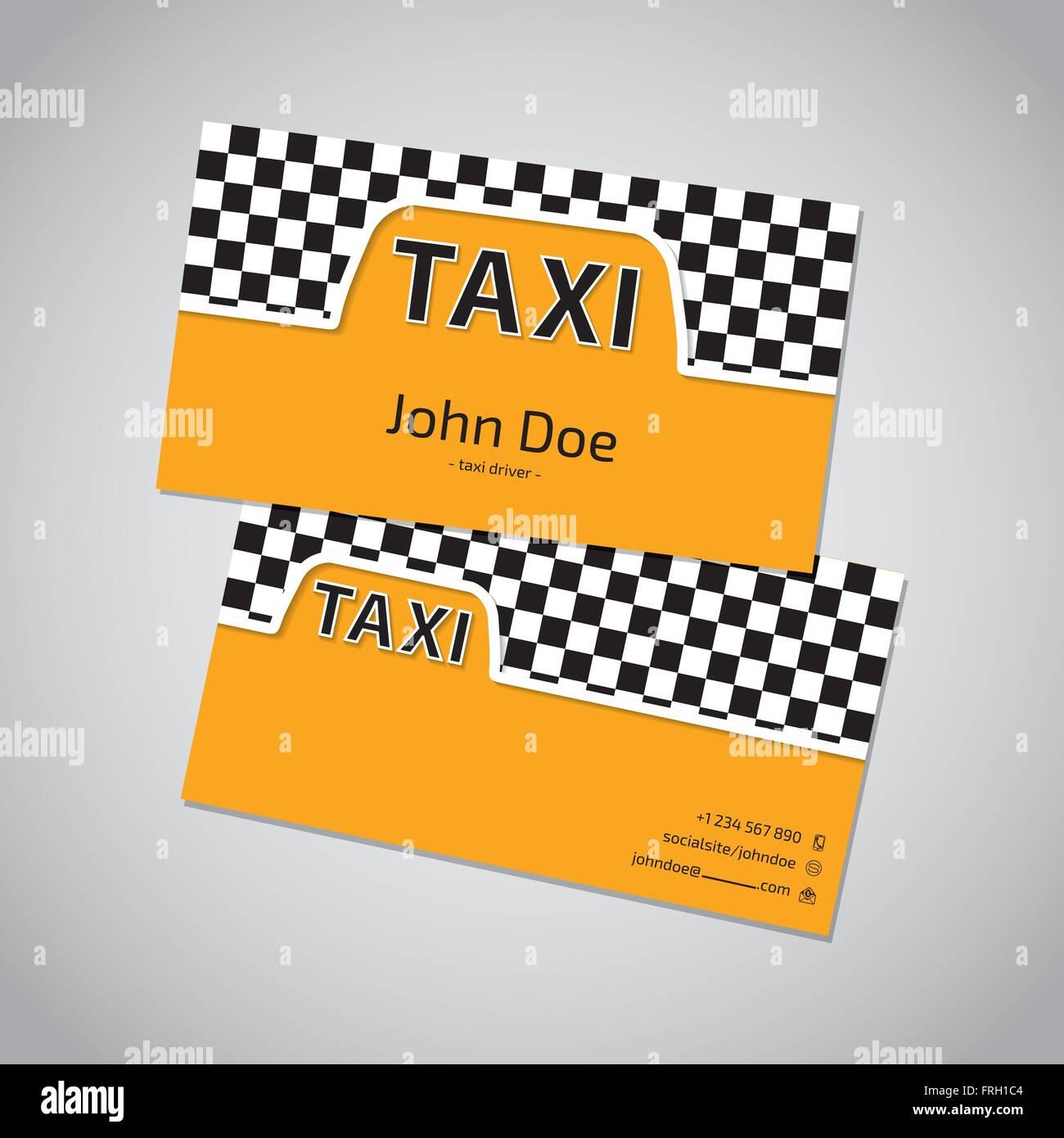Taxi Visitenkarten Vorlage Design Mit Kabine Symbol Vektor