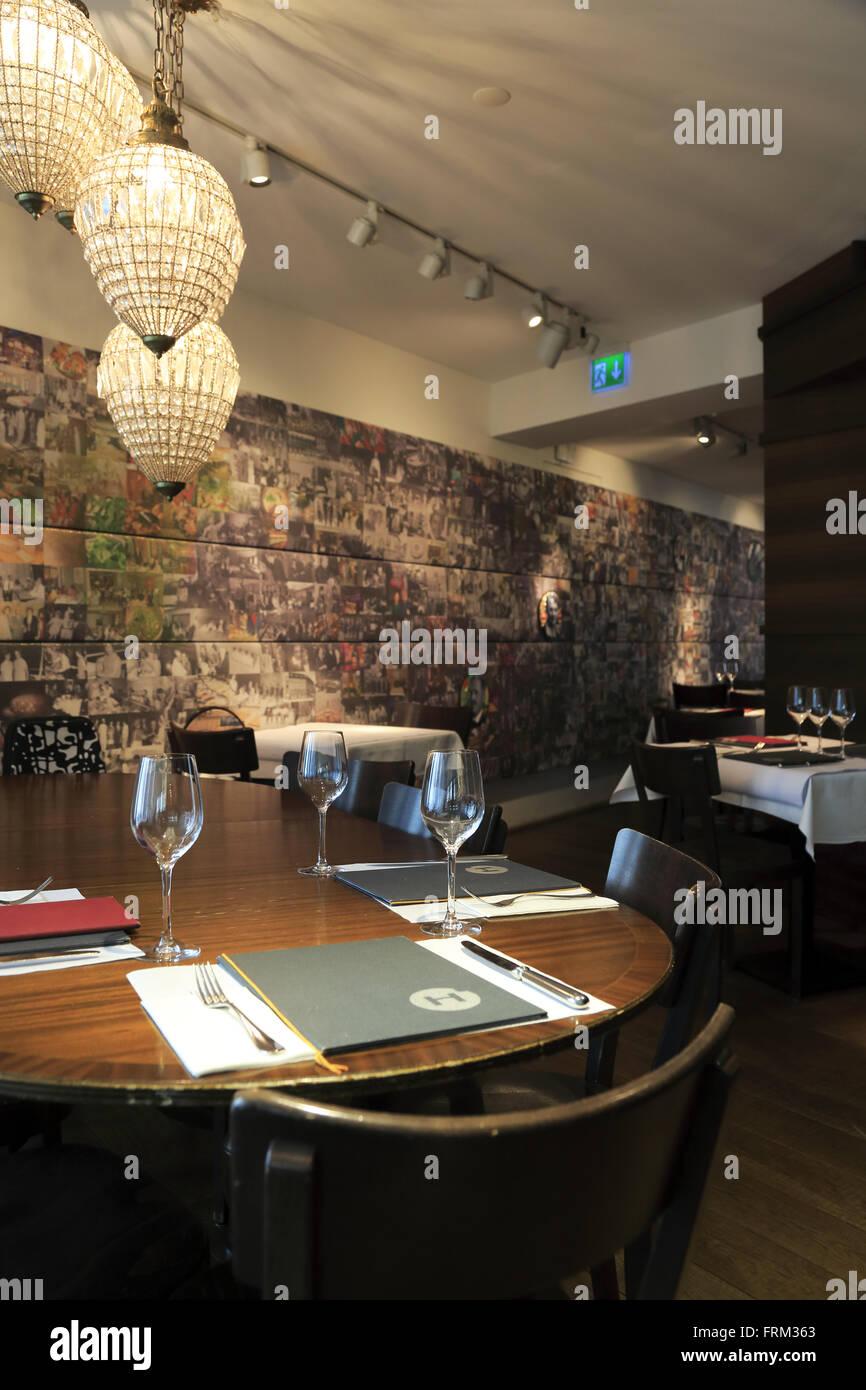 Dining Hall HILTL das weltweit älteste durchgehend offen vegetarische Restaurant in Zürich Stockbild