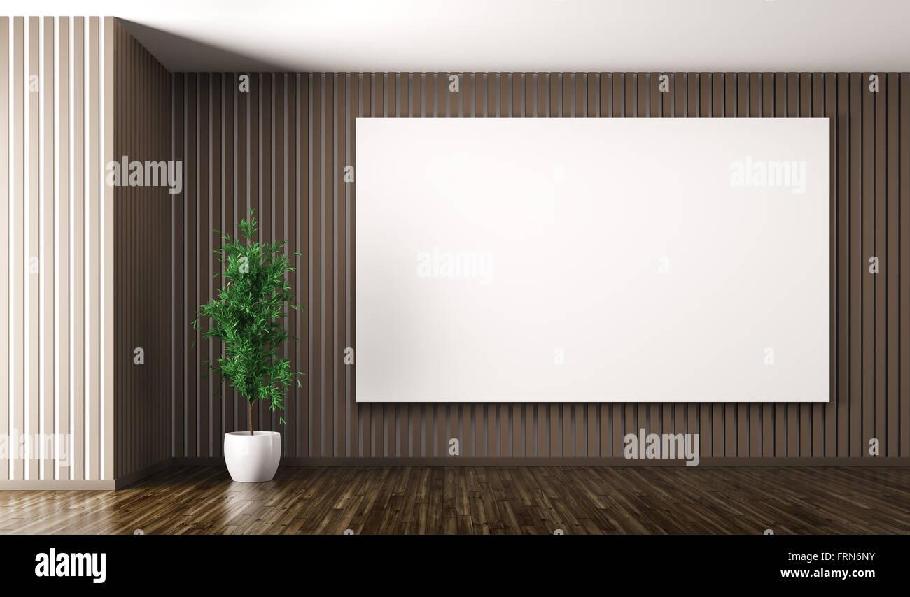 Leere Innenraum Wohnzimmer Mit Einem Großen Plakat Auf Dem Braunen Wand   Und Anlage 3D Rendering