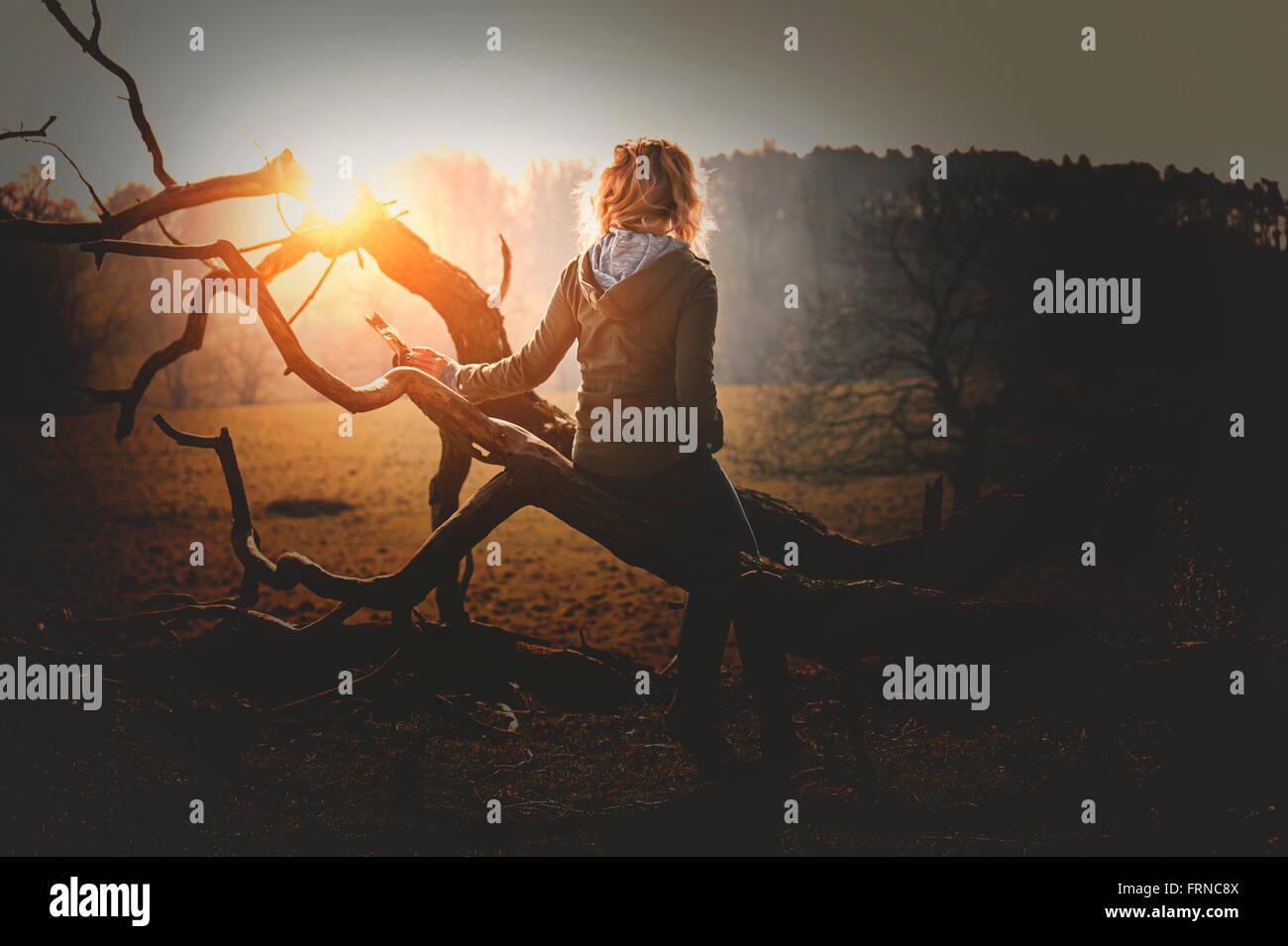 junge Frau, die Standortwahl auf einen umgestürzten Baum im Sonnenuntergang-park Stockbild