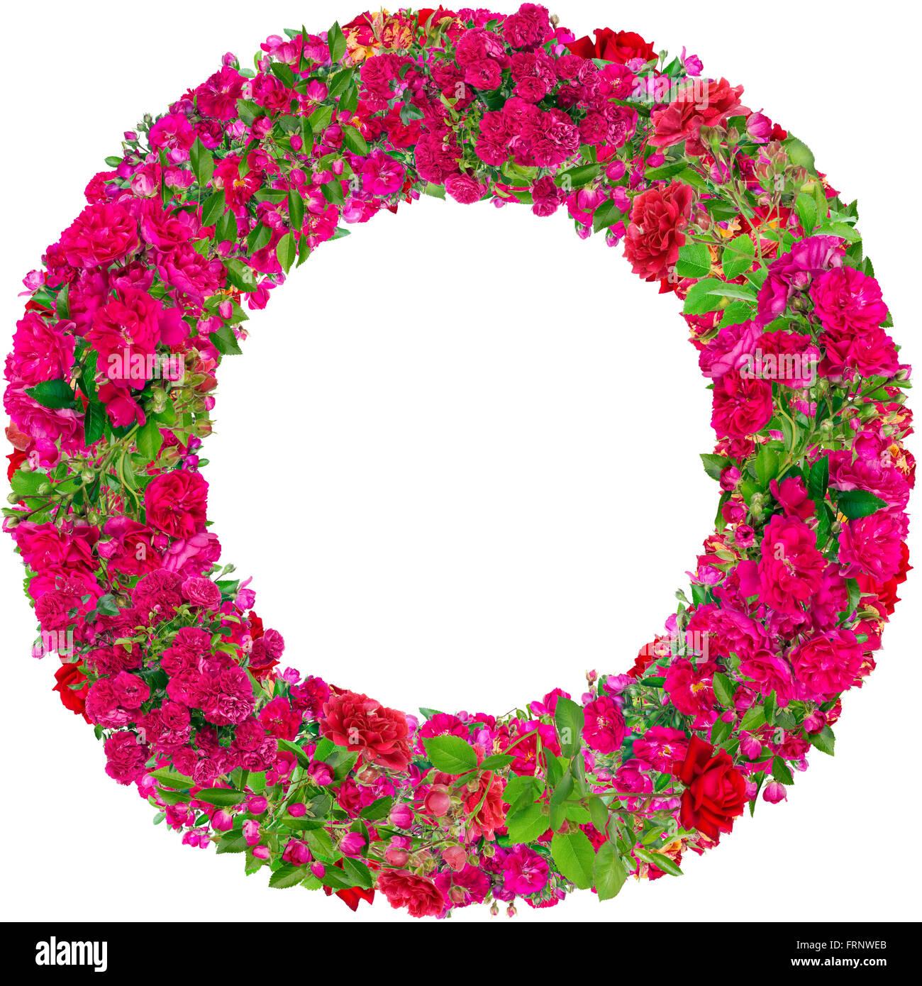 Runde Bilderrahmen aus rosa Sommer Rosen Zweige Knospen und Blüten ...