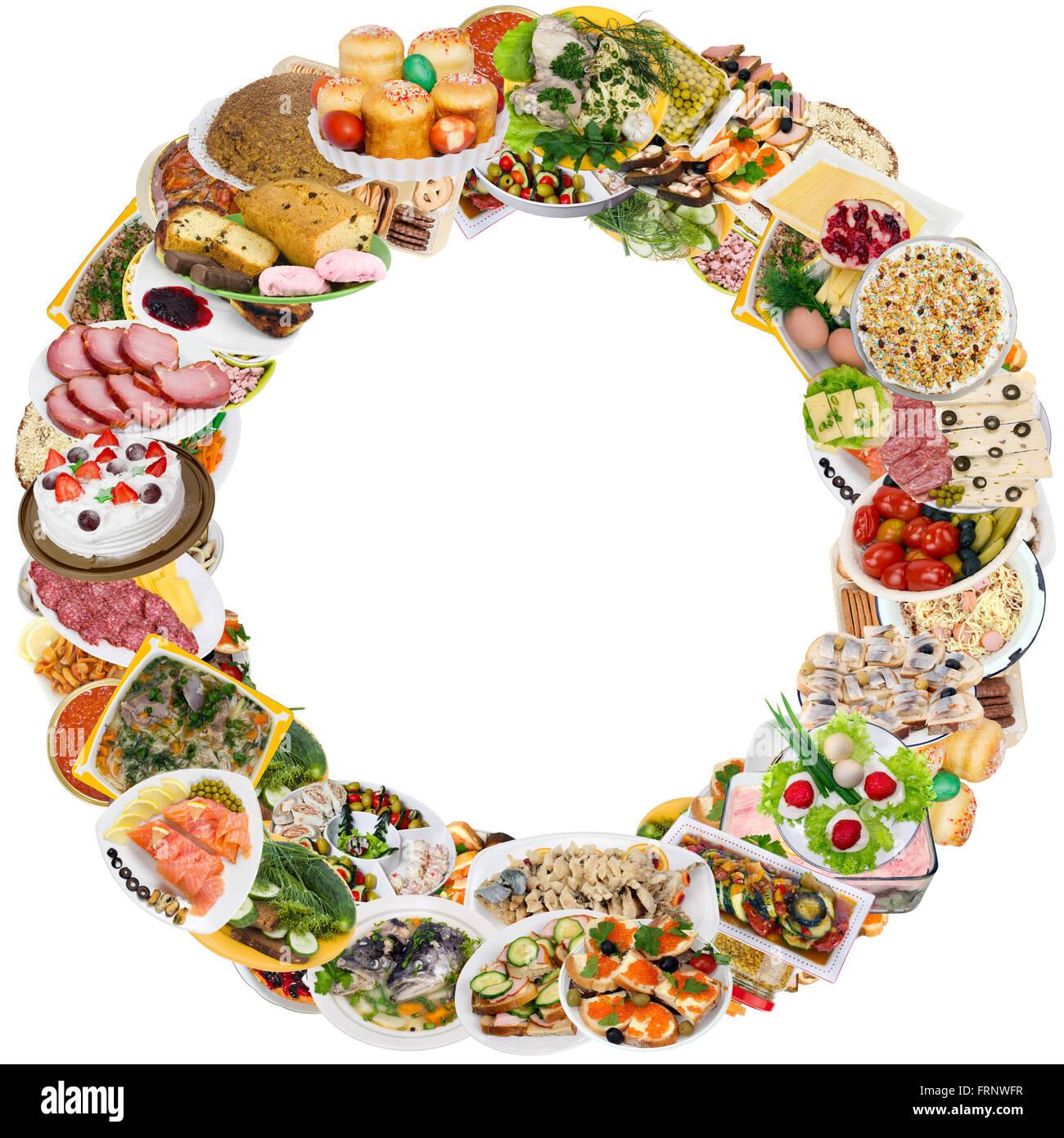 Einfaches Essen auf Tellern im rustikalen Landhausstil runder Rahmen ...