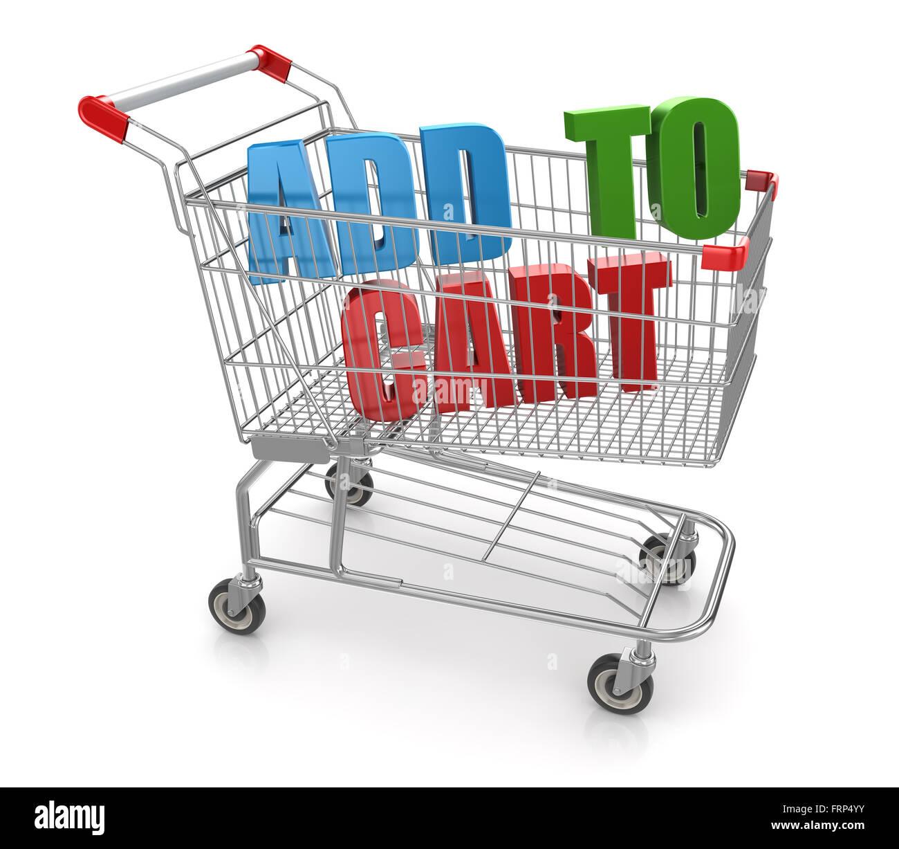 Add to cart, ist dies ein Computer generierten und 3d gerenderten Bild. Stockfoto
