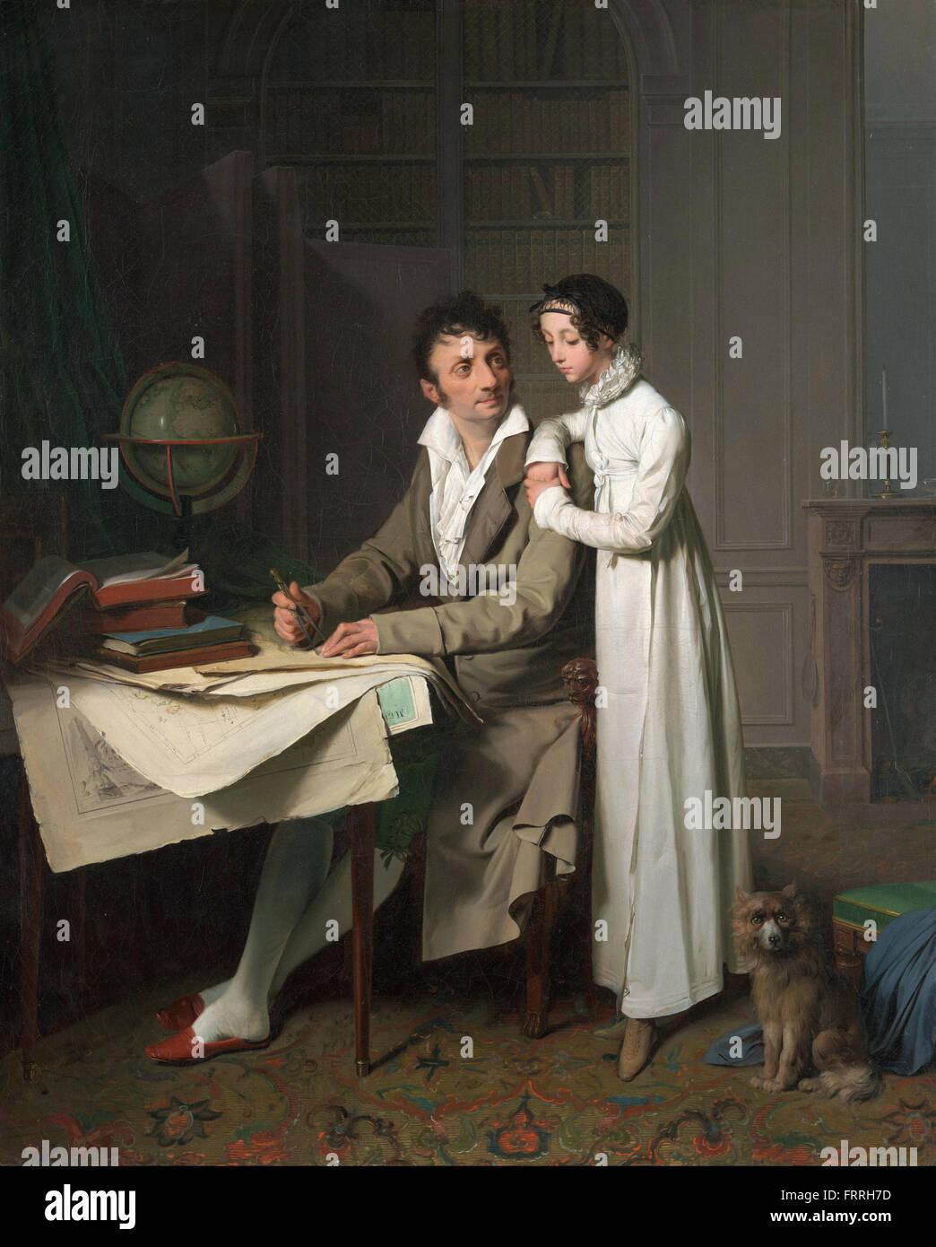 Louis-Léopold Boilly - Erdkundeunterricht (Porträt von Monsieur Gaudry und seine Tochter) Stockbild
