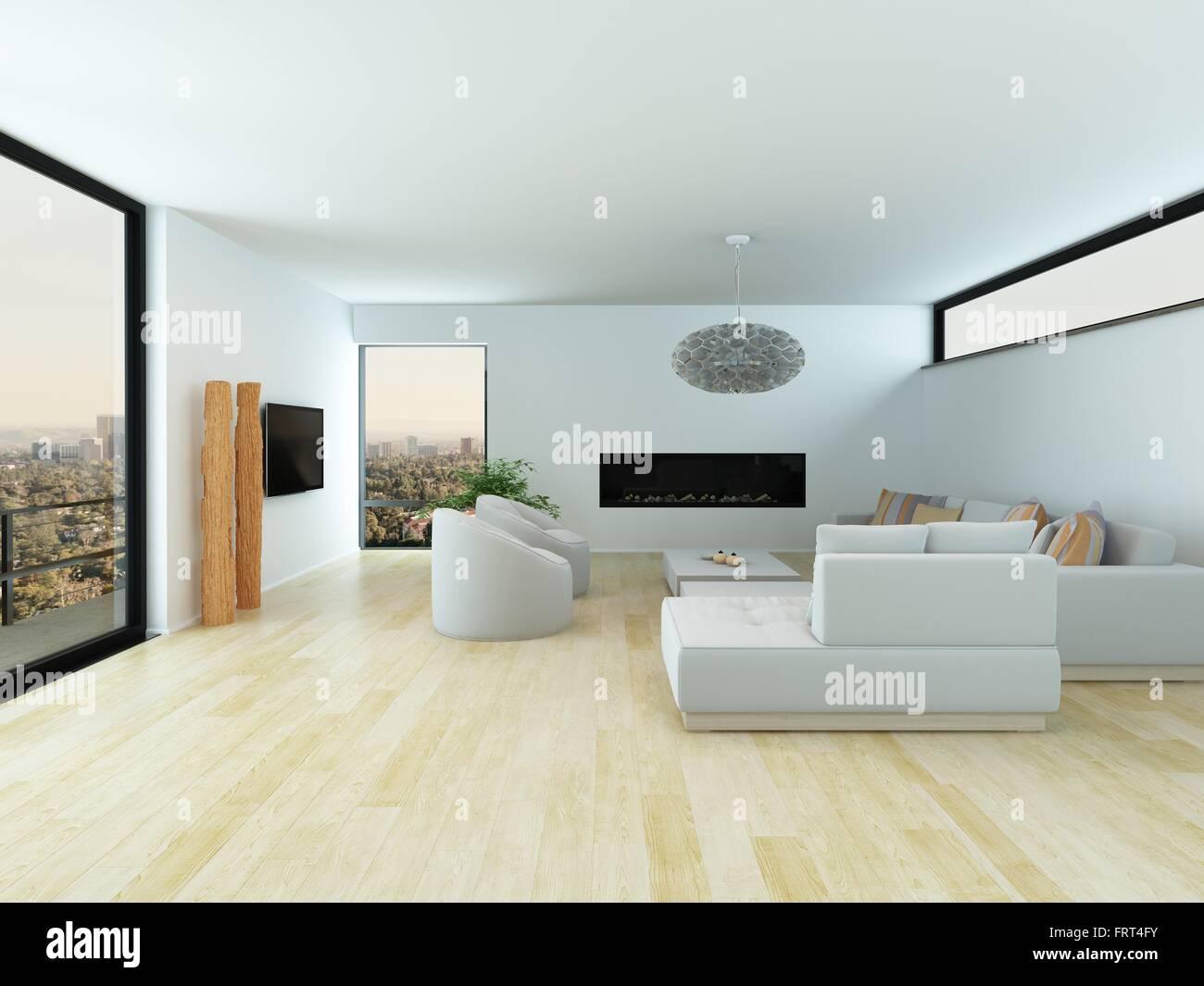 moderne fenster im wohnzimmer : Moderne Wei E Wohnzimmer Interieur Mit Hellem Eichenparkett Wei E