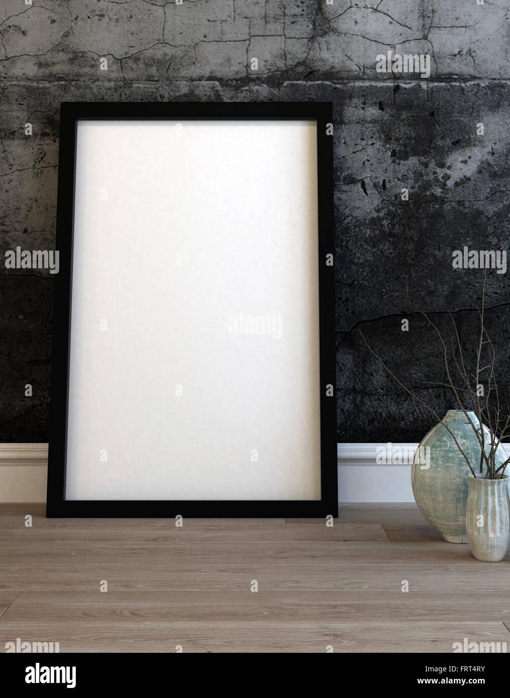 Großen leeren schwarzen Bilderrahmen stützte sich auf eine moderne ...