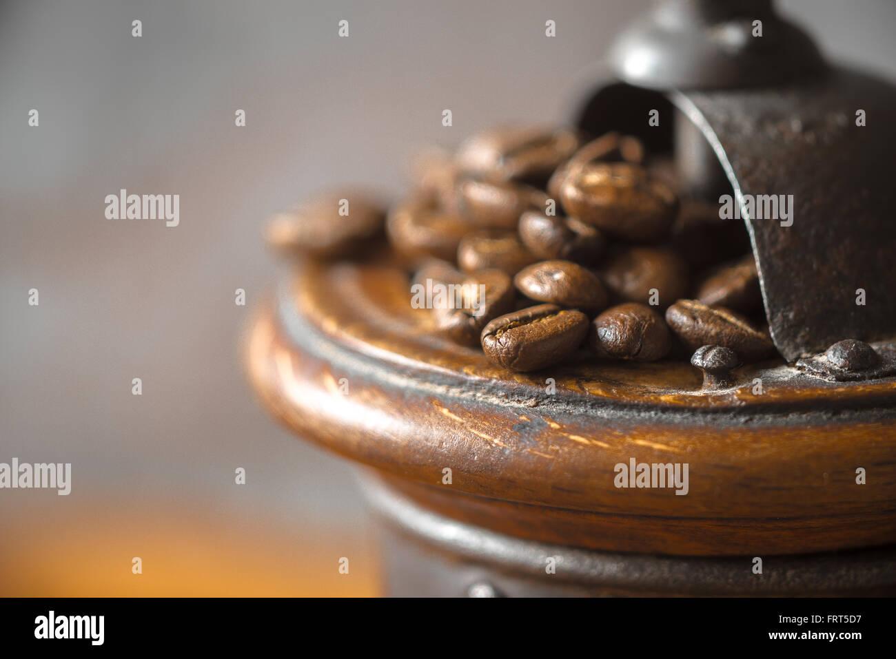 Kaffeemühle mit Kaffeebohnen Nahaufnahme Stockbild