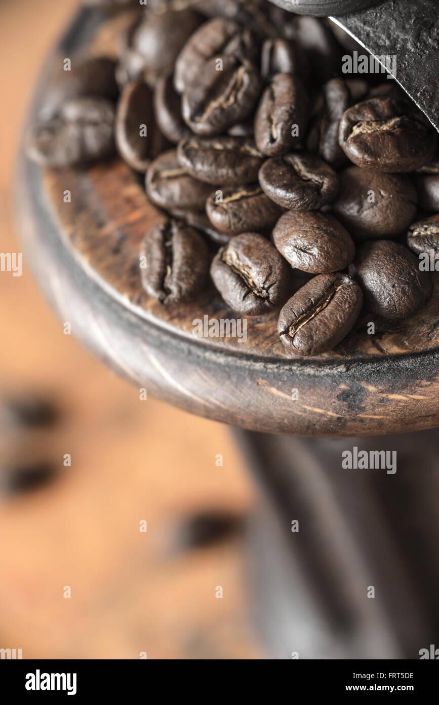 Kaffeebohnen in der Kaffeemühle-Nahaufnahme Stockbild