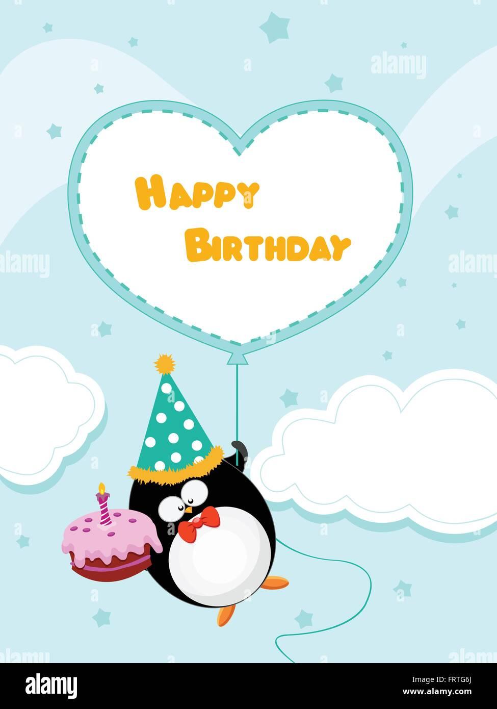 Happy Birthday Pinguin Card Vektor Abbildung Bild 100728506 Alamy