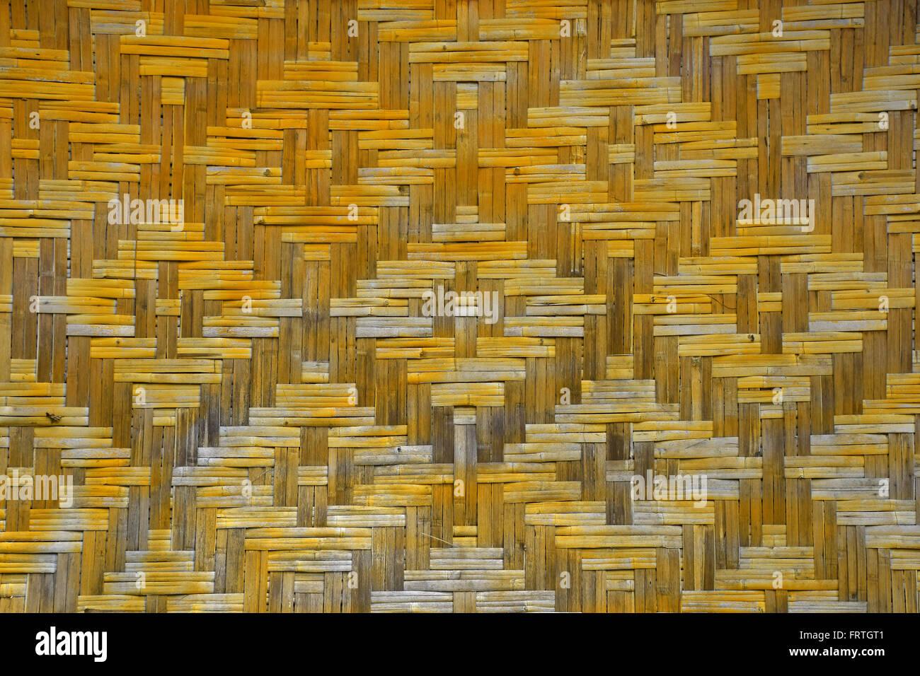 Weide Geflochten Bambus Gelb Und Braun Bemalte Wand Texturmuster