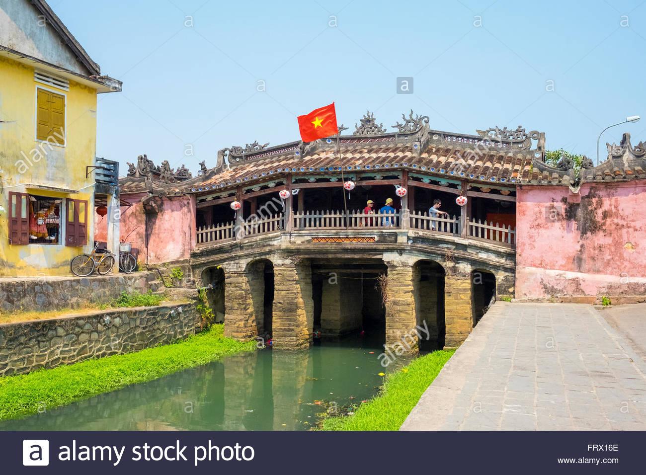 Die japanische überdachte Brücke in Hoi an einer alten Stadt, Hoi an, Provinz Quang Nam, Vietnam Stockbild