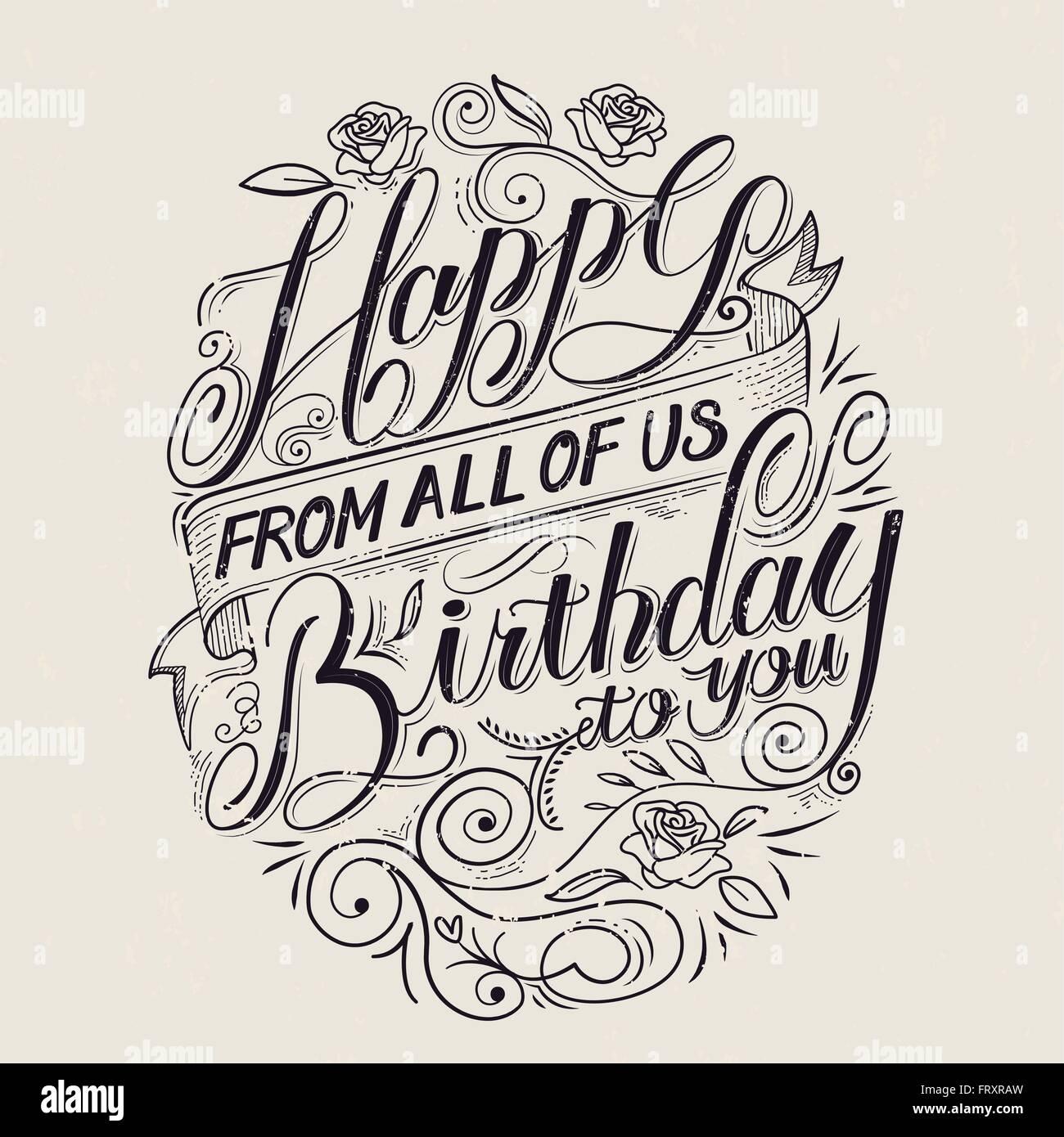 Retro Alles Gute Zum Geburtstag Sie Kalligraphie Poster Design