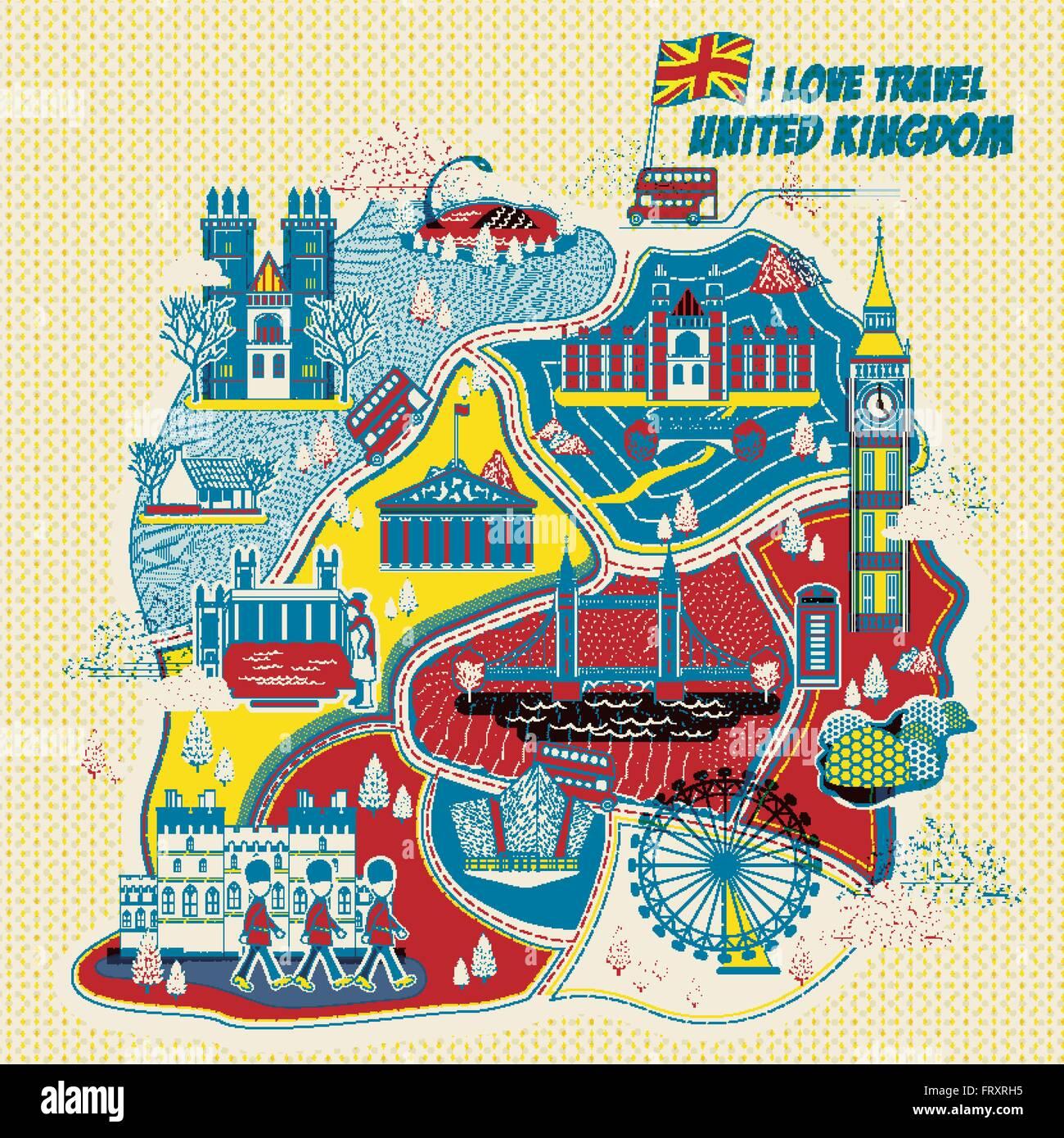Sehenswürdigkeiten Großbritannien Karte.Schöne Großbritannien Sehenswürdigkeiten Karte Im Stil Vektor