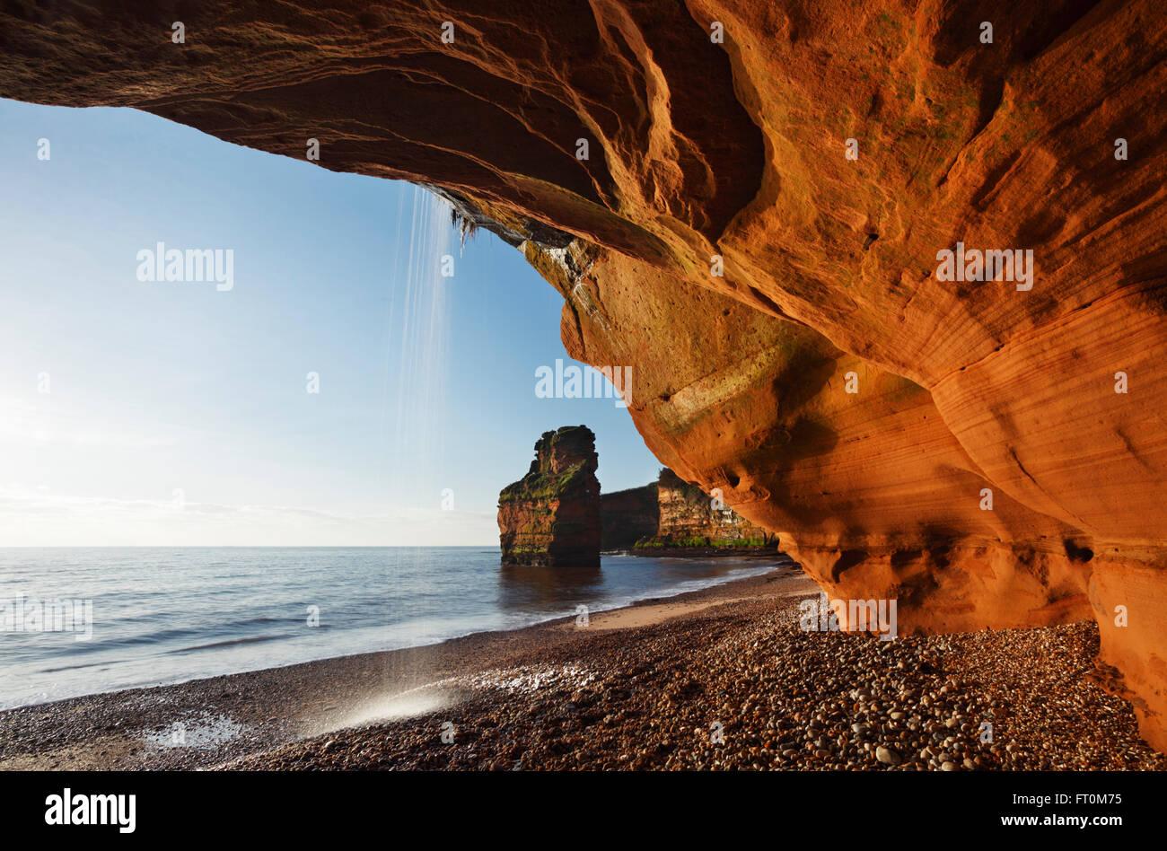 Ladram Bay. Juraküste Welterbe-Aufstellungsort. Devon. VEREINIGTES KÖNIGREICH. Stockbild