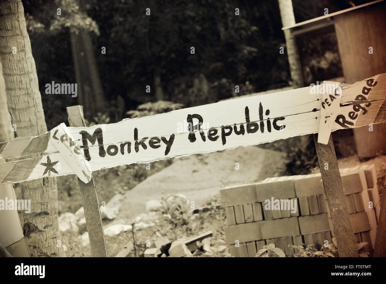 Monkey Republic, Siquijor Island, Philippinen. Stockbild