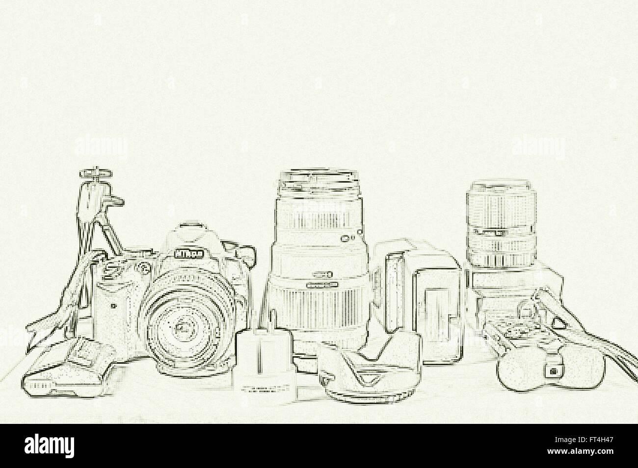 Foto Equipment, Studio, Hamburg, Deutschland. Stockbild