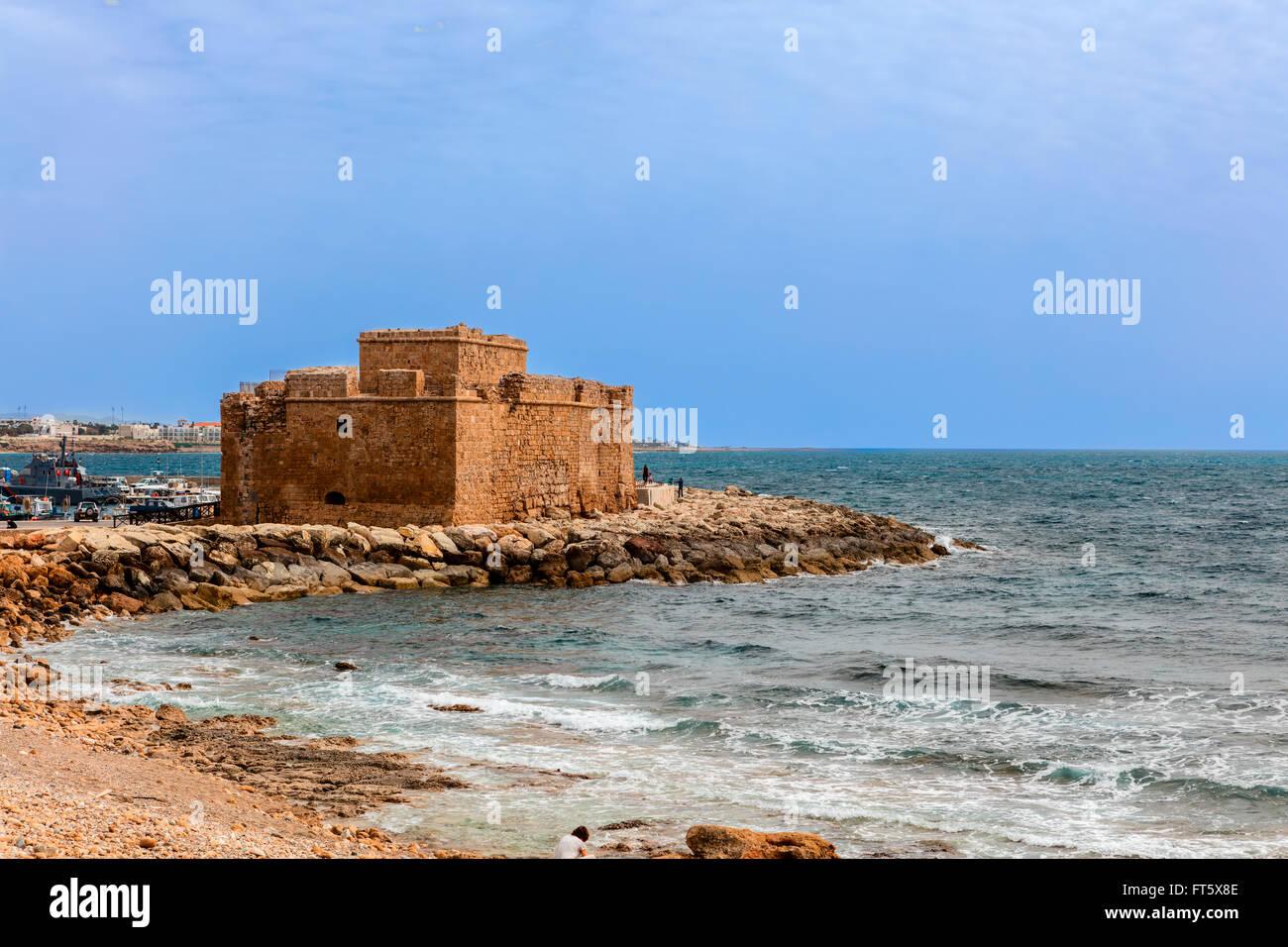 Mittelalterliche Burg in Paphos, Zypern. Stockbild