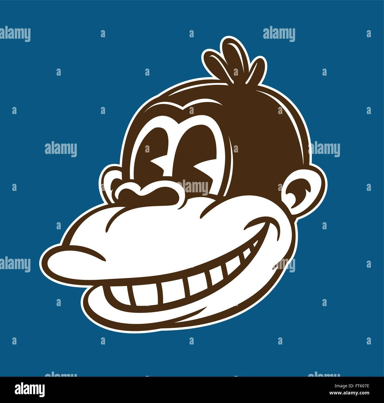 Vintage Toons: Retro-Affe Comicfigur, Ape Smiley, klassischen Stil-Vektor-Illustration Stockbild