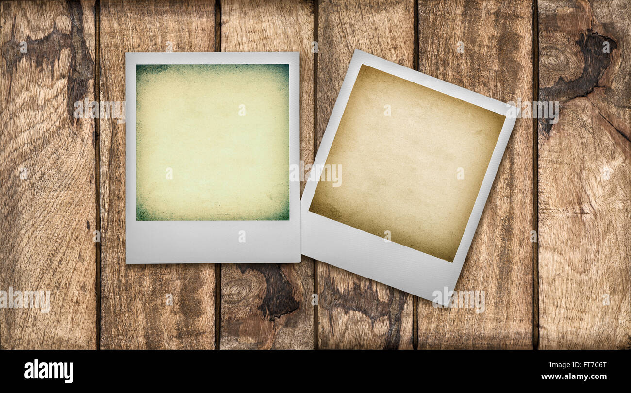 Polaroid-Foto-Rahmen mit Instagram Wirkung. Hölzerne ...
