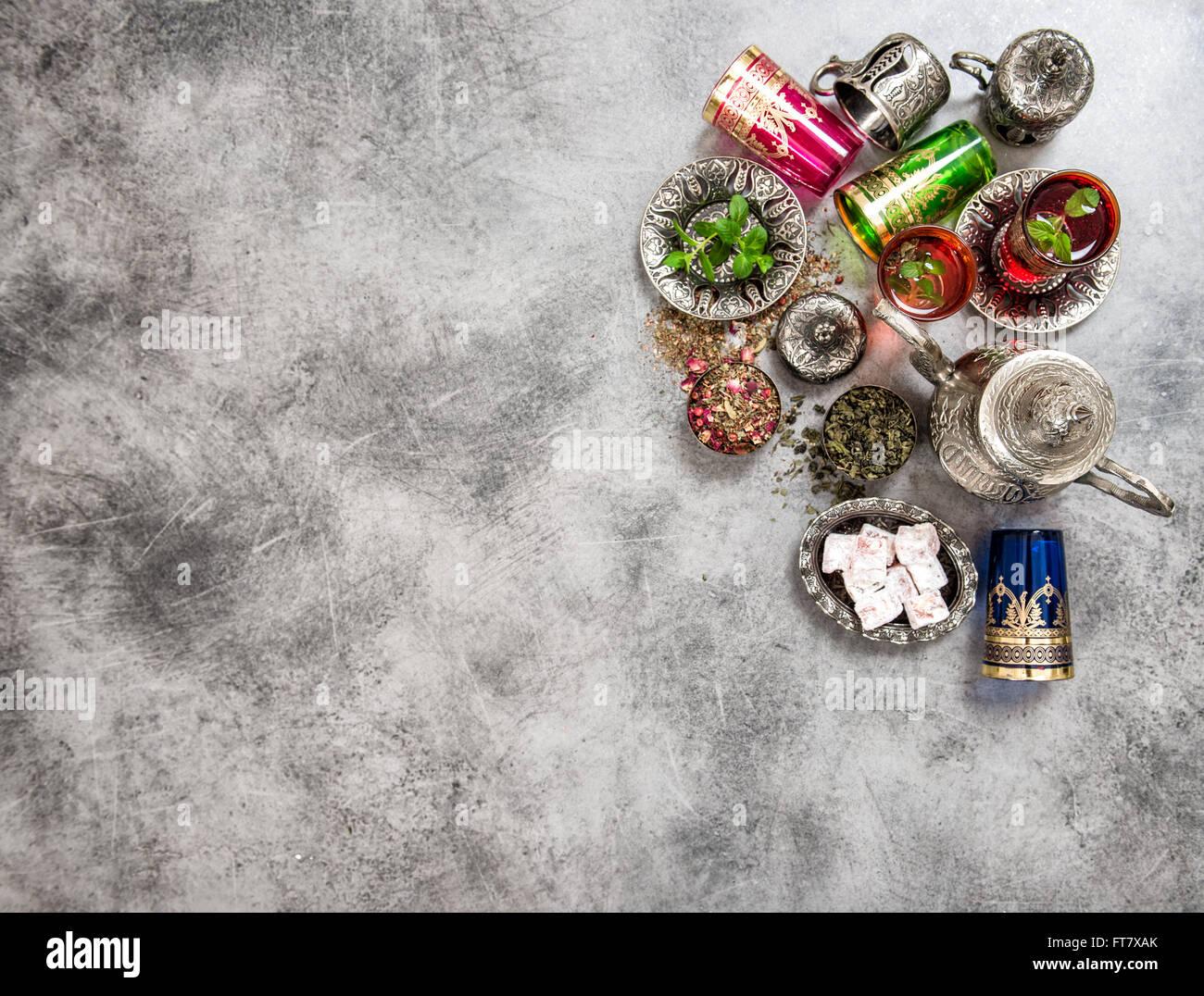 Festliche Tischdekoration Tee. Orientalische Gastfreundschaft. Eid ...