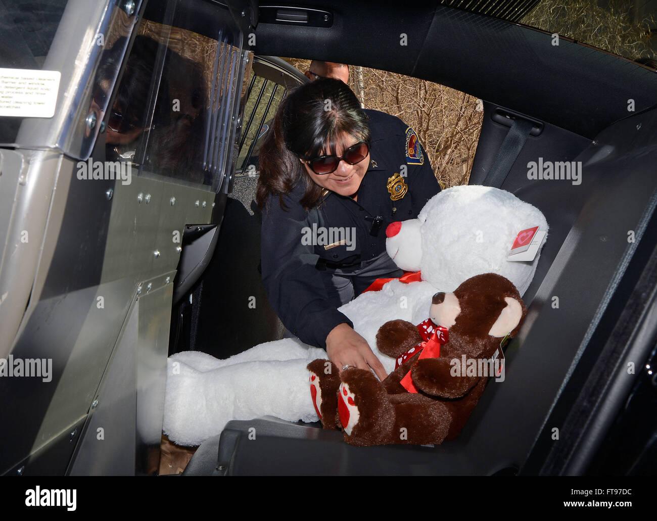 25. März 2016 - Albuquerque, NM, USA - NW Commander Dodi Camacho lädt einige 300 Teddybären und Spielzeuge, Stockbild