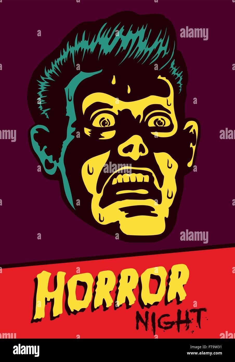 Horror-Nacht! Halloween Party oder Film Nacht Eventflyer Vektor ...