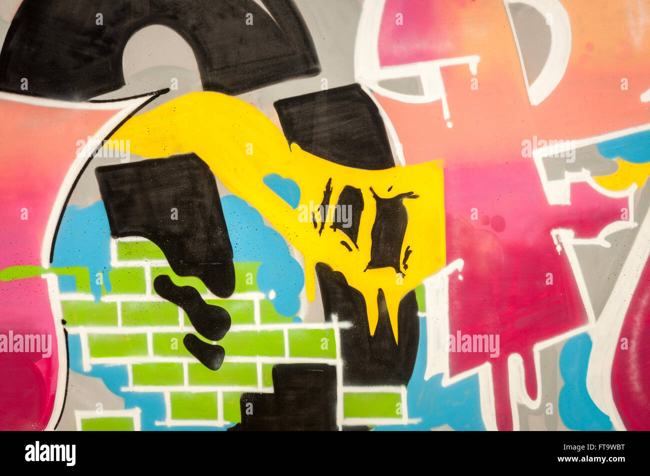 Bunt bemalten Graffiti Wandbild Wand. Mehrfarbiger Hintergrund. Stockbild