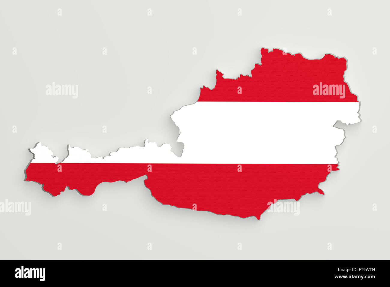3d Karte Osterreich.3d Rendering Der Osterreich Karte Und Flagge Auf Weissem
