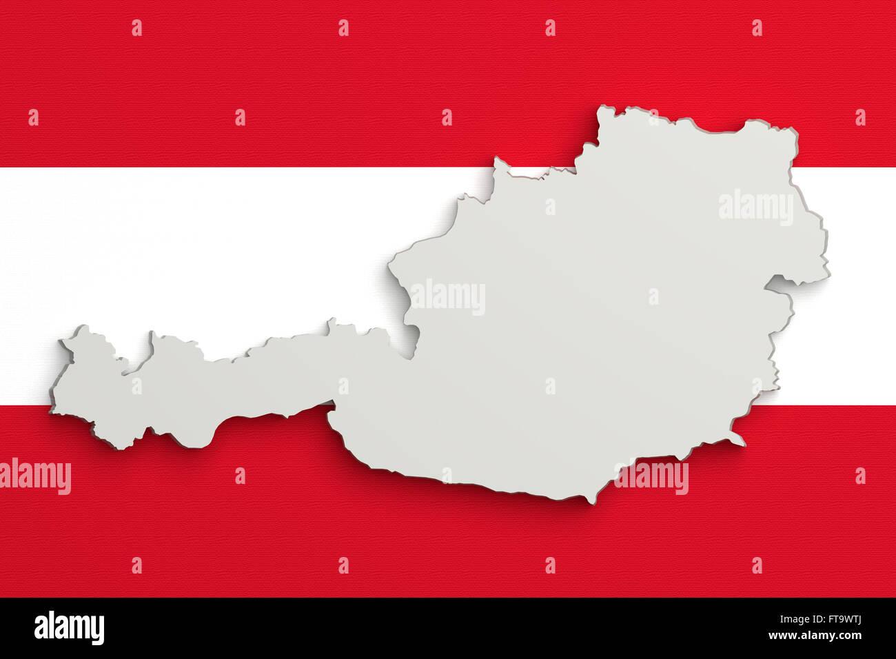 3d Karte Osterreich.3d Rendering Der Osterreich Karte Und Flagge Im Hintergrund