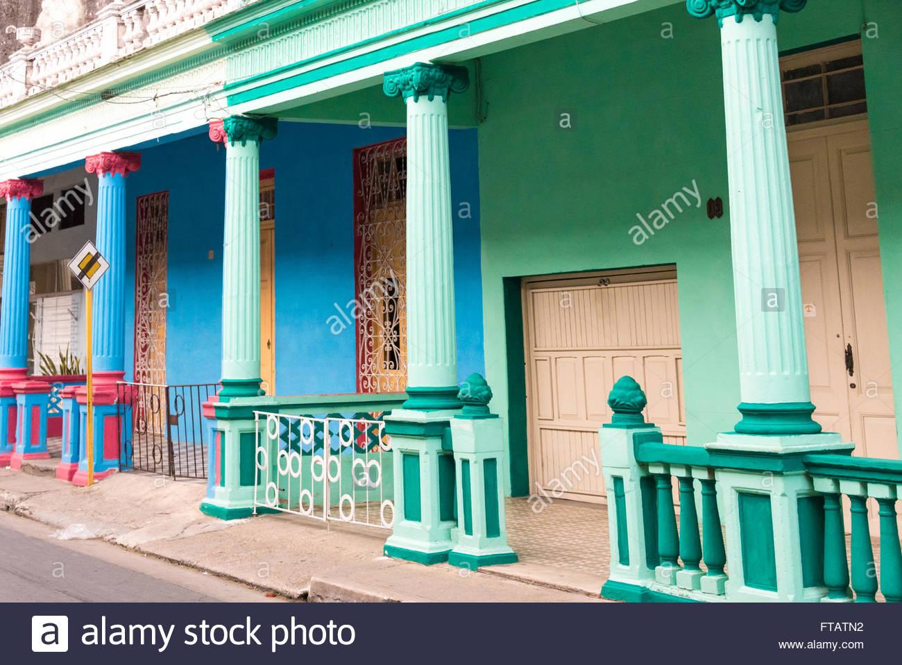 Kubanische Hausern Im Kolonialstil Farben Vintage Bunten Hausern